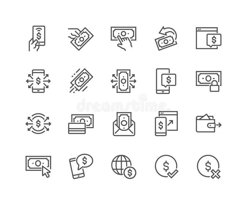 Linje betalningsymboler stock illustrationer