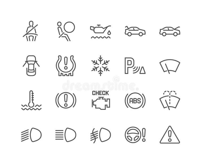 Linje bilinstrumentbrädasymboler royaltyfri illustrationer