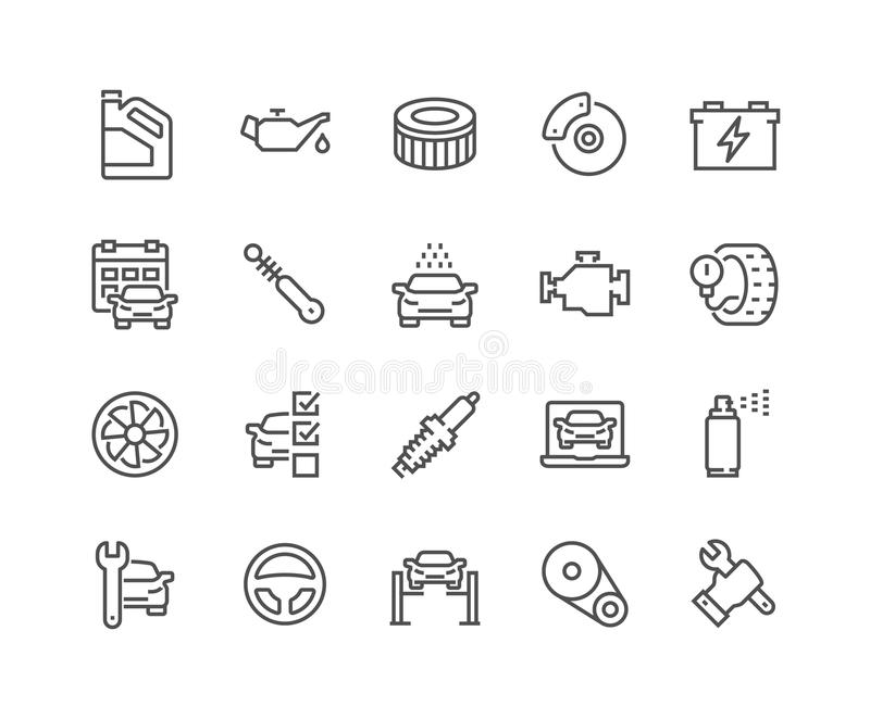 Linje bilservicesymboler stock illustrationer