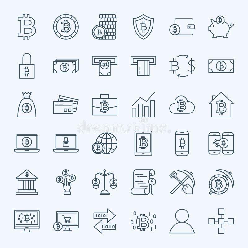 Linje Bitcoin symboler royaltyfri illustrationer