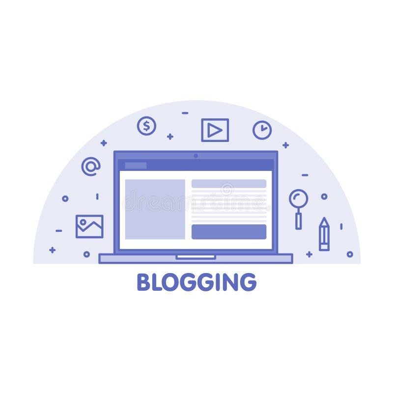 Linje Blogging begrepp Bärbar datorskärm och fastställd illustration för symbol vektor illustrationer