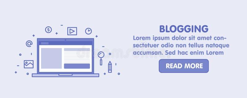 Linje Blogging begreppsrengöringsdukbaner Bärbar datorskärm och fastställd illustration för symbol vektor illustrationer