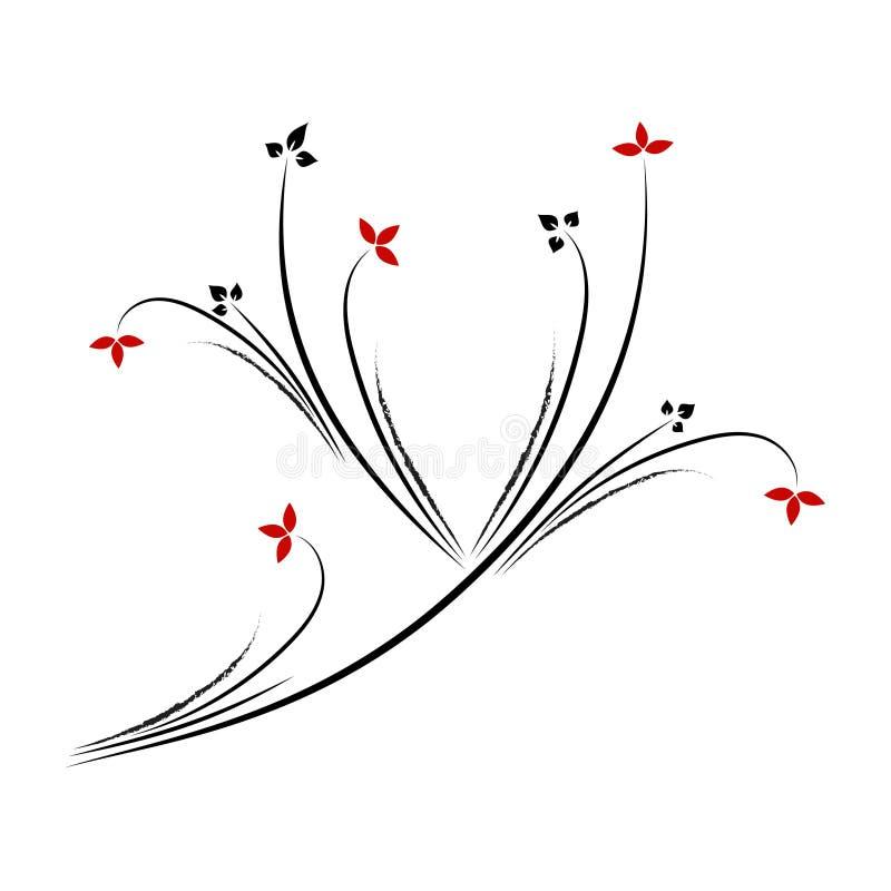 Linje blom- modell för konst i formen av bokstav Y på vit bakgrund vektor illustrationer