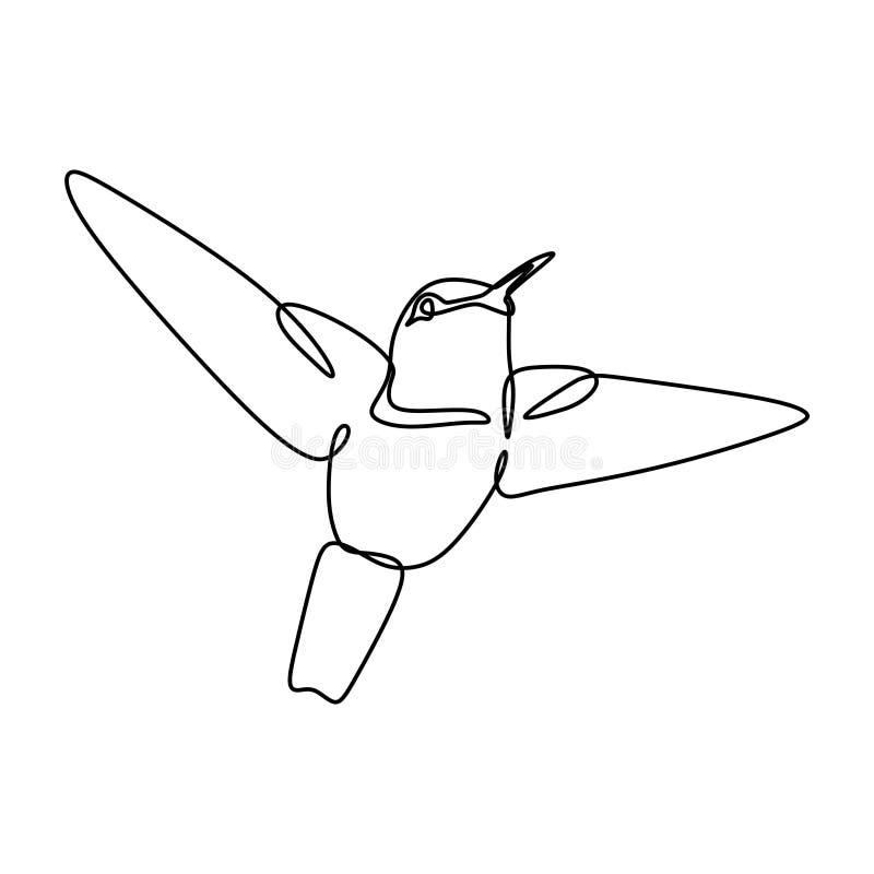 Linje design för fågel en för fortlöpande lineart för teckning minimalist på vit bakgrund stock illustrationer