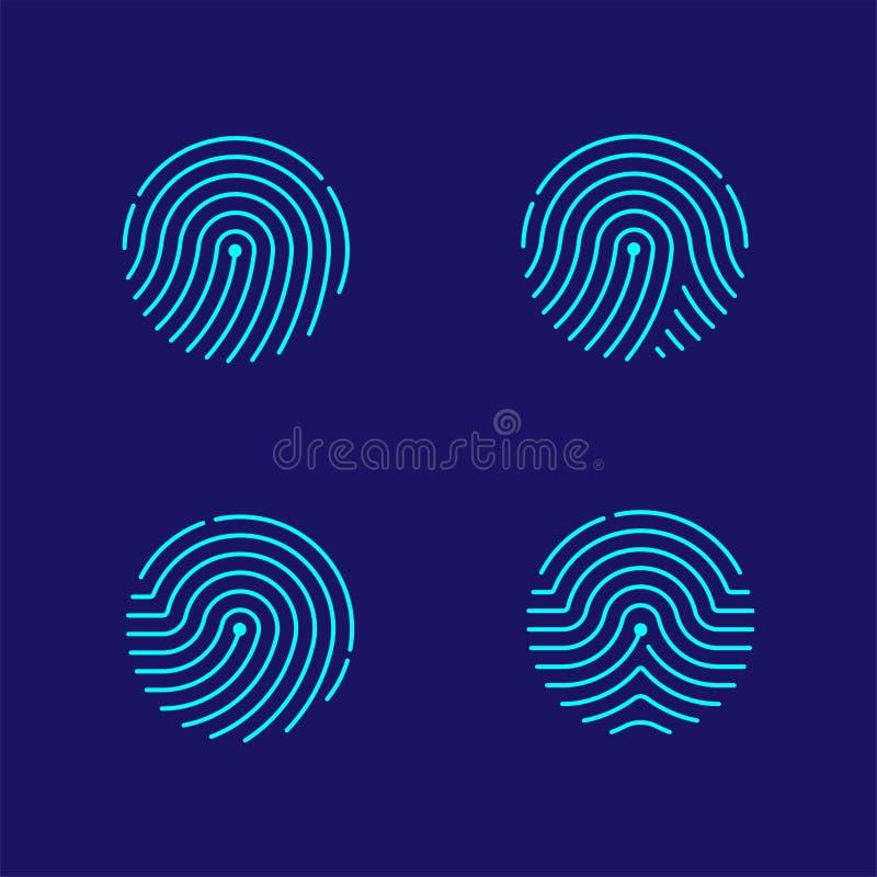 Linje designillustration för streck för uppsättning för fingeravtryckbildläsningssymbol stock illustrationer