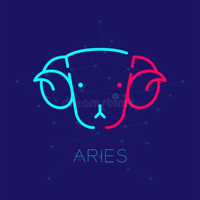 Linje designillustration för streck för uppsättning för slaglängd för översikt för symbol för Aries Zodiac konstellationlogo vektor illustrationer
