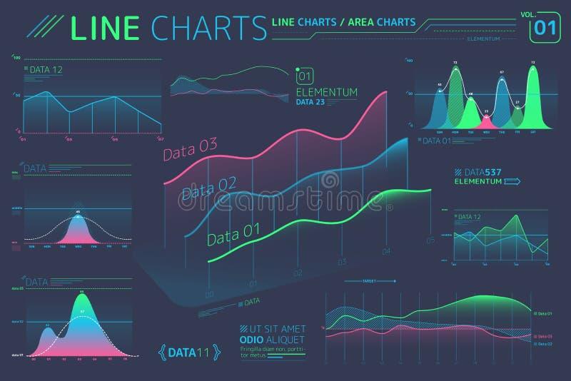 Linje diagram och Infographic f?r omr?desdiagram best?ndsdelar stock illustrationer
