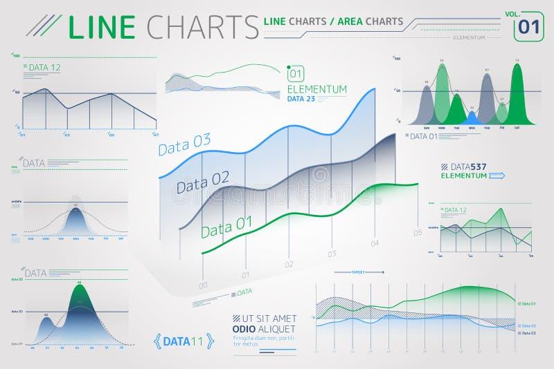 Linje diagram och Infographic f?r omr?desdiagram best?ndsdelar vektor illustrationer