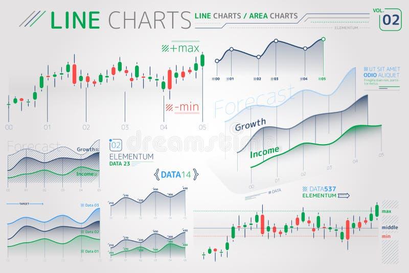 Linje diagram och Infographic f?r omr?desdiagram best?ndsdelar royaltyfri illustrationer