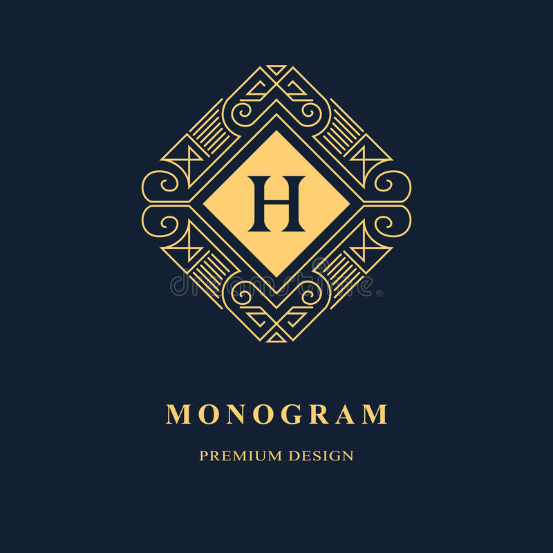 Linje diagrammonogram Logodesign för elegant konst emblem Behagfull mall stock illustrationer