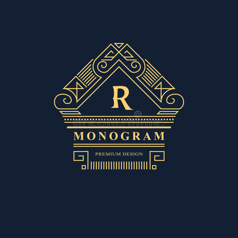 Linje diagrammonogram Logodesign för elegant konst emblem Behagfull mall royaltyfri illustrationer