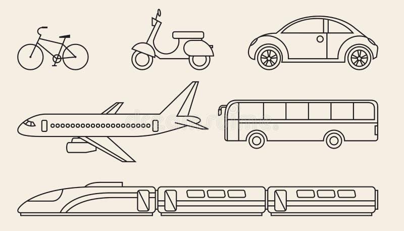 Linje diagramuppsättning av olikt personligt och kollektivtrafik stock illustrationer
