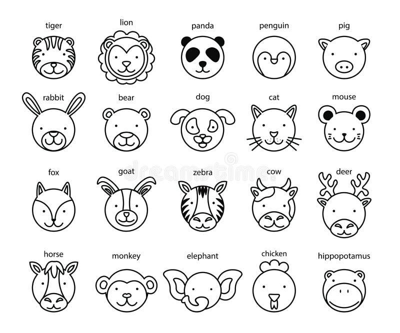 Linje djur Head symbolsuppsättning också vektor för coreldrawillustration royaltyfri illustrationer