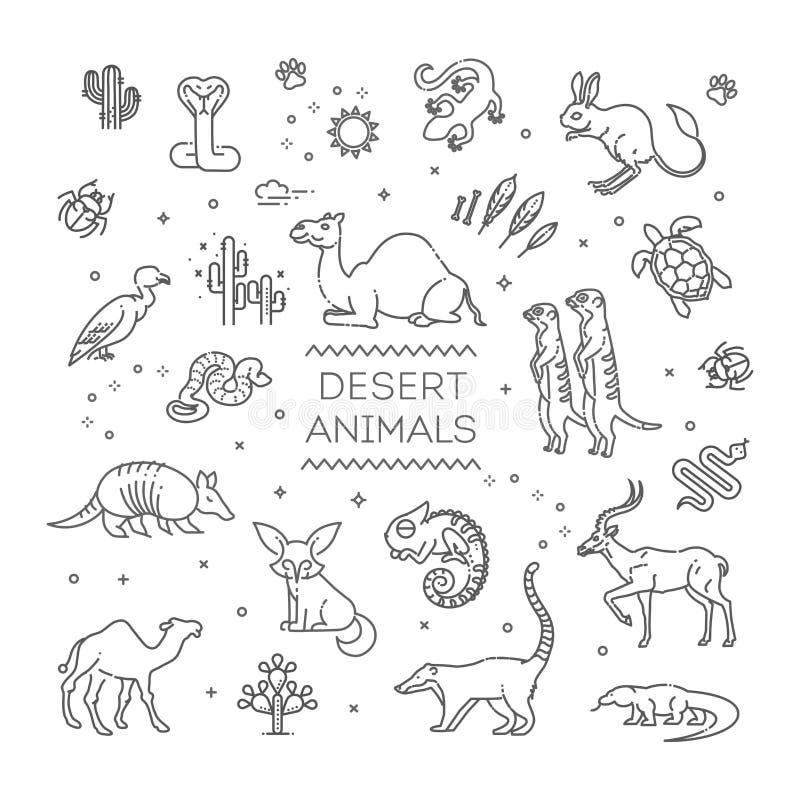 Linje djurlivbegrepp med olika ökendjur vektor vektor illustrationer