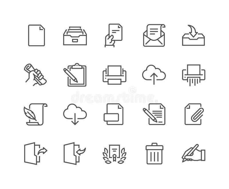 Linje dokumentsymboler stock illustrationer