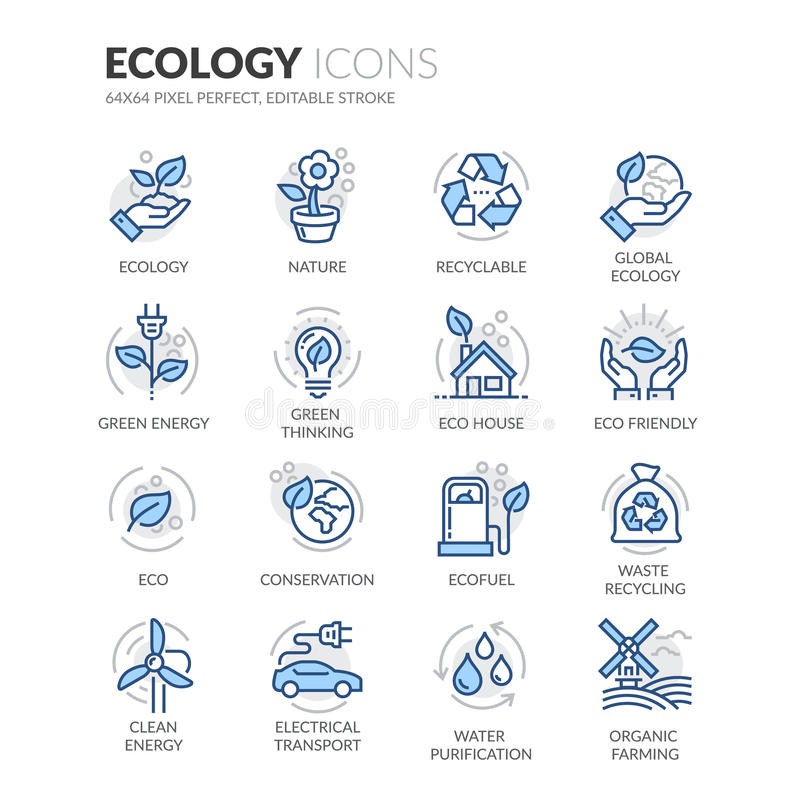 Linje ekologisymboler royaltyfri illustrationer