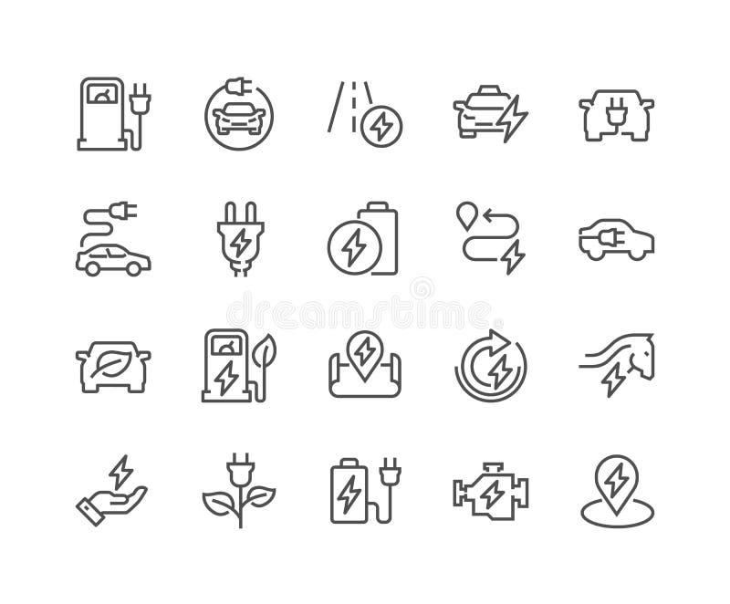 Linje Electro bilsymboler stock illustrationer