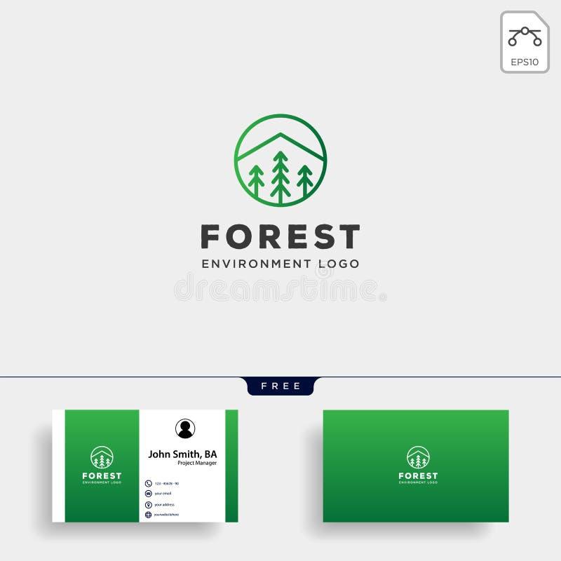 linje enkel best?ndsdel f?r emblem f?r bergskognatur f?r symbol f?r illustration f?r logomallvektor royaltyfri illustrationer