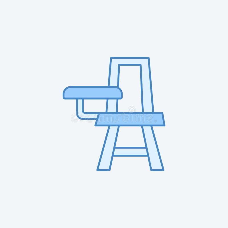 Linje 2 färgad linje symbol för skolaskrivbordstol Enkelt mörker och ljus - blå beståndsdelillustration Linje begreppsoutlin för  stock illustrationer