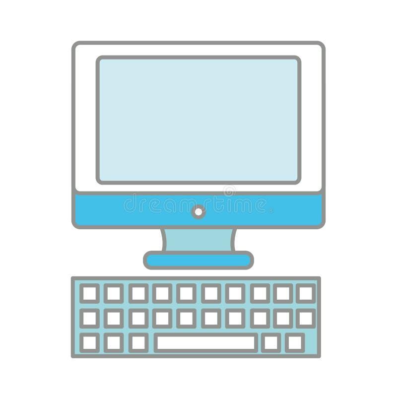 Linje färgskärmdator med tangentbordteknologisymbolen royaltyfri illustrationer
