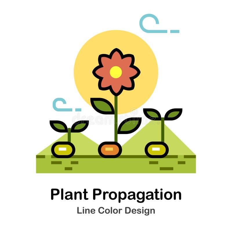 Linje färgsymbol för växtförökning royaltyfri illustrationer
