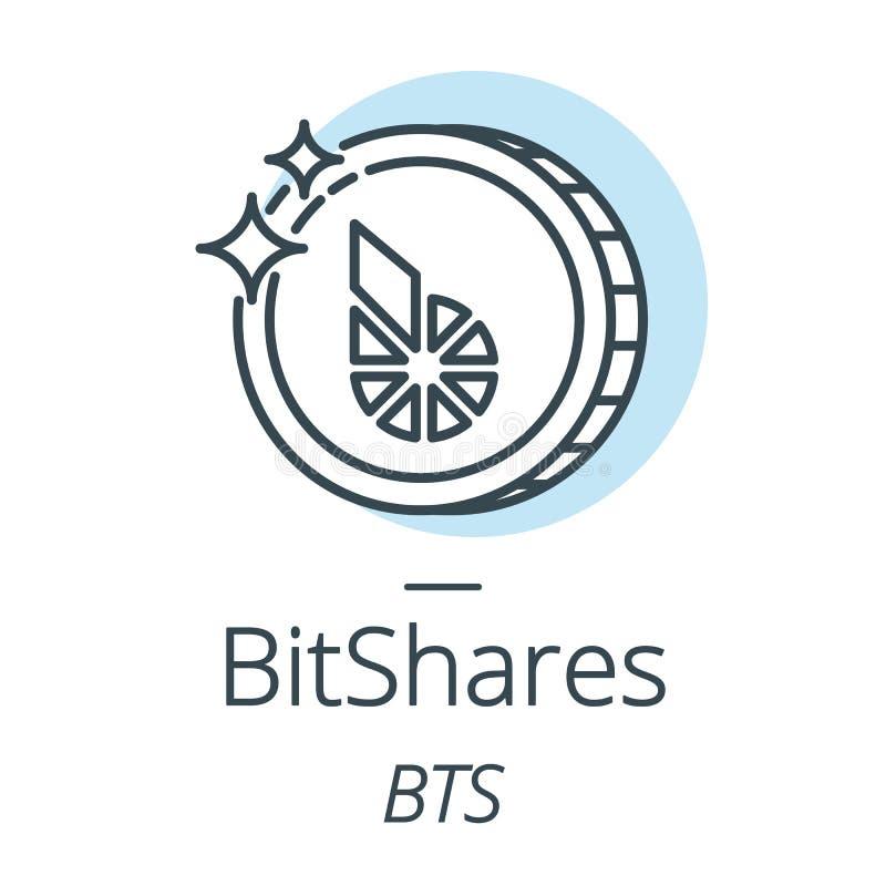 Linje för BitShares cryptocurrencymynt, symbol av faktisk valuta stock illustrationer