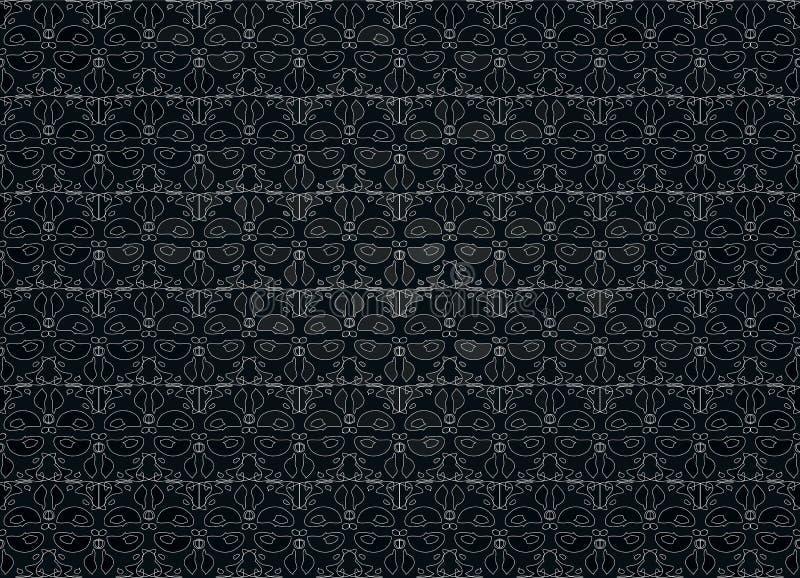 Linje för blom- prydnad för mörk bakgrund vit stiliserad royaltyfri illustrationer