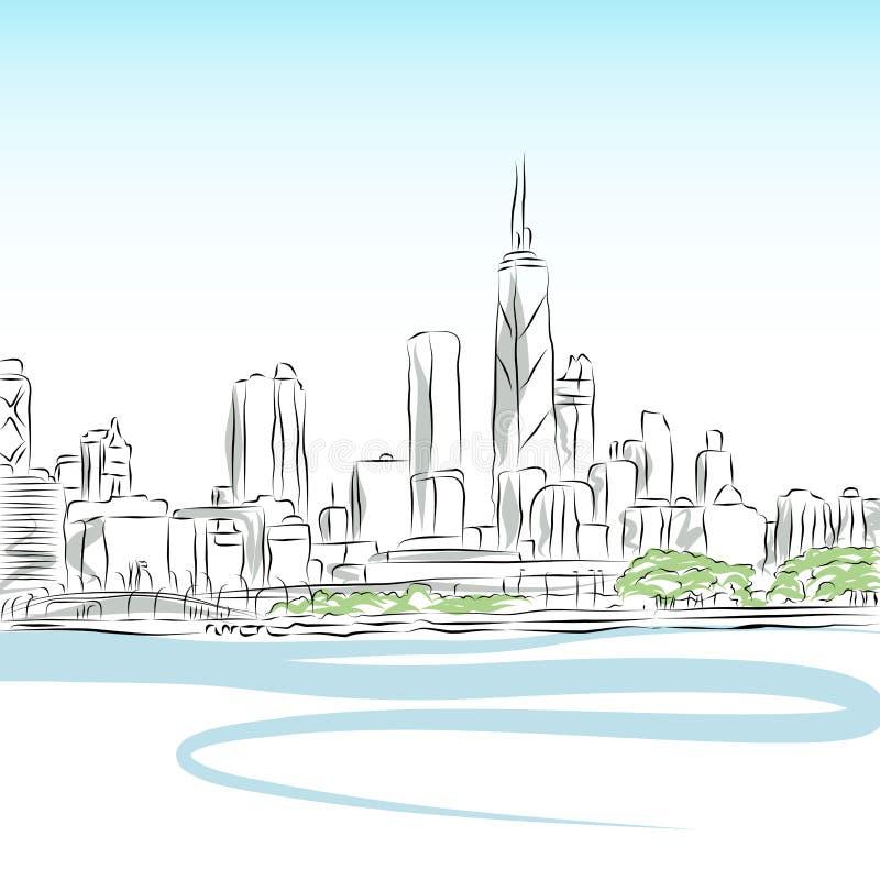 linje för chicago cityscapeteckning royaltyfri illustrationer