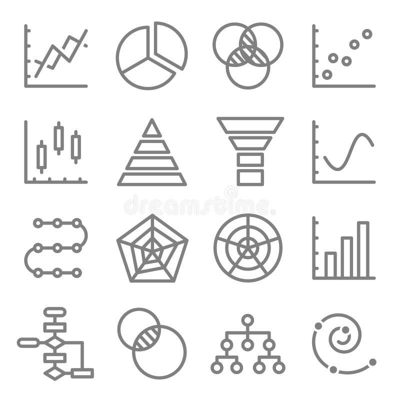 Linje för diagram- och diagramvektorfärg symbolsuppsättning Innehåller sådana symboler som Venn Diagram, Dot Plot, spiral graf oc royaltyfri illustrationer