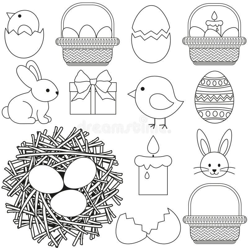 Linje för easter för konst svartvita beståndsdelar för uppsättning 13 symbol royaltyfri illustrationer