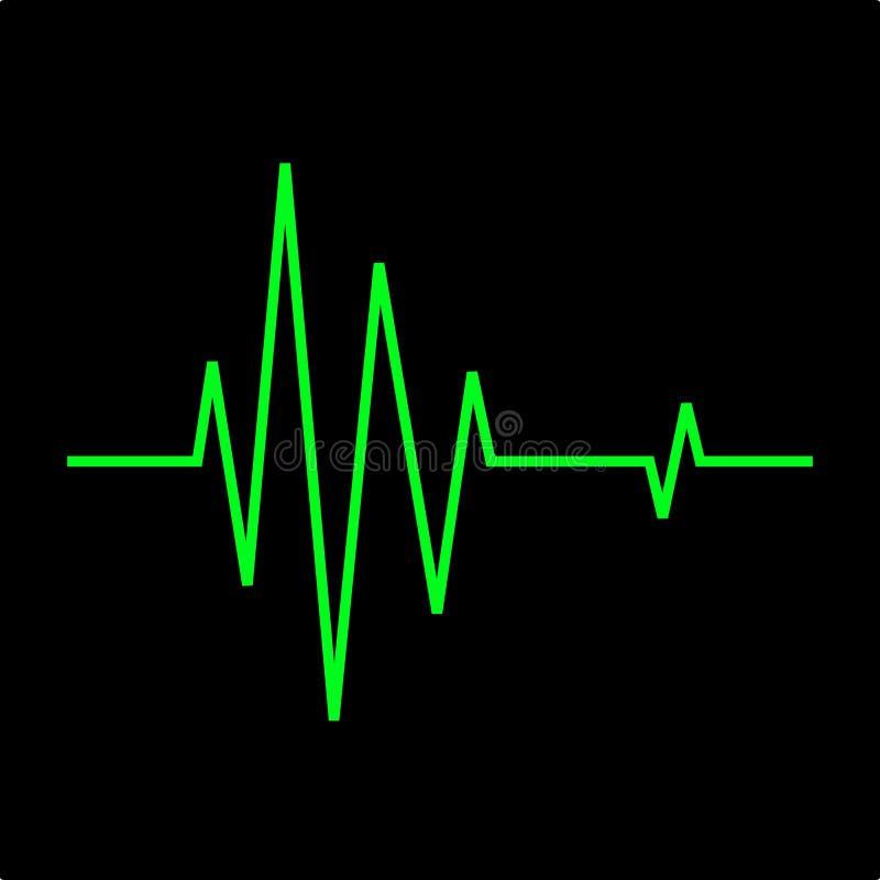 Linje för ekg för hjärtatakt, EKGbildskärm Den gröna linjen visar hjärtatakten På svart bakgrund arkivfoto