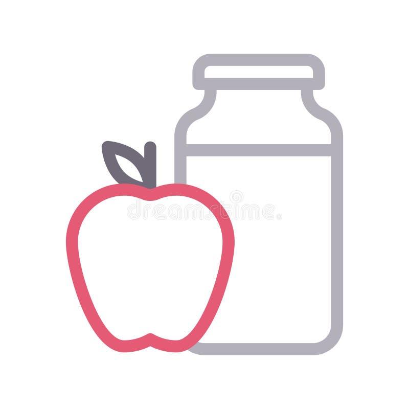 Linje f?r f?rg f?r Apple krus tunn vektorsymbol vektor illustrationer