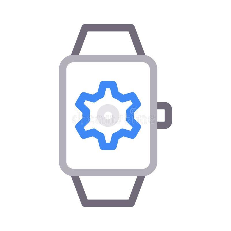 Linje för färg för klockainställning tunn vektorsymbol royaltyfri illustrationer