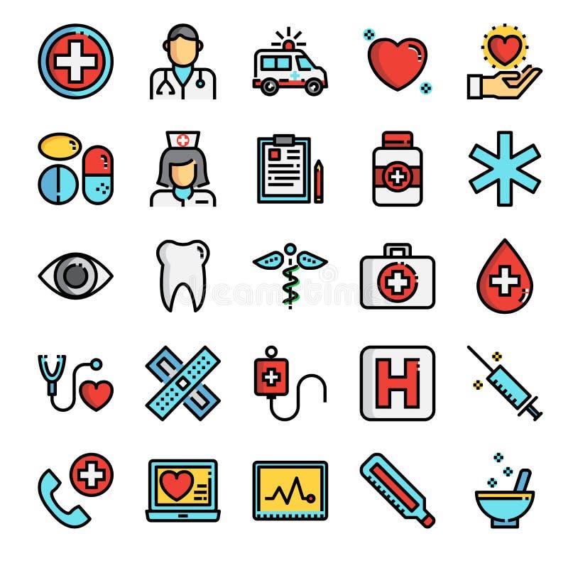 Linje för färg för sjukvårdPIXEL perfekt symboler stock illustrationer