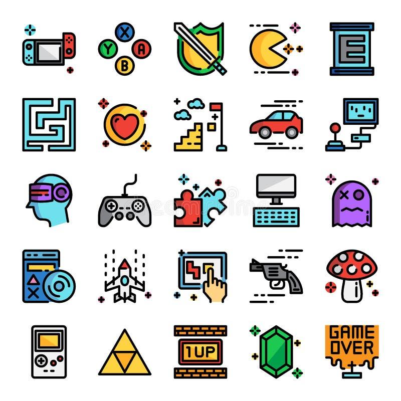 Linje för färg för videospelPIXEL perfekt symboler vektor illustrationer