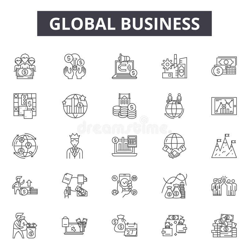 Linje för global affär symboler, tecken, vektoruppsättning, översiktsillustrationbegrepp royaltyfri illustrationer