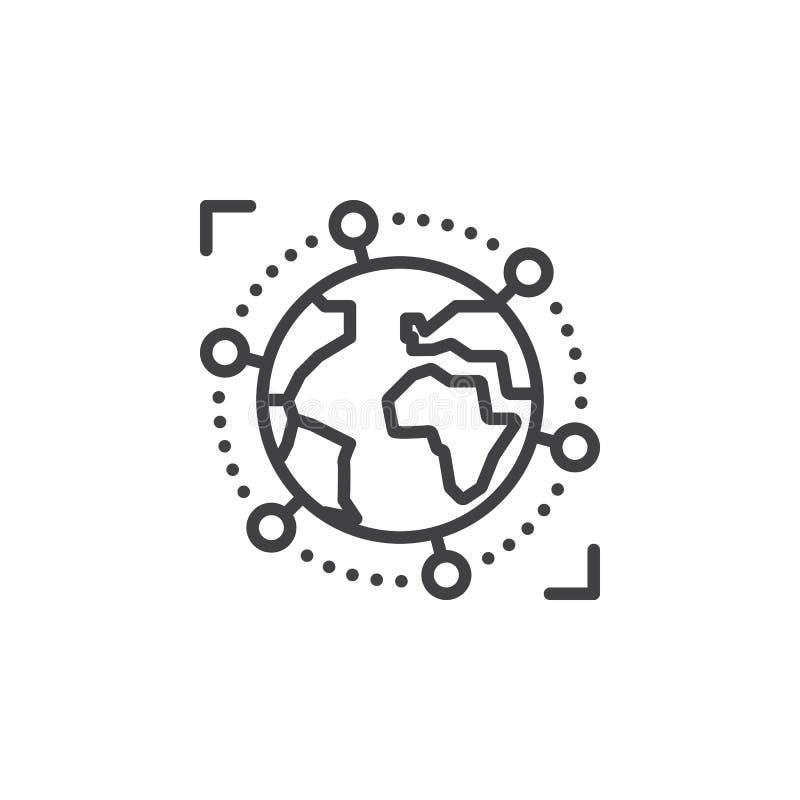 Linje för internationell global affär symbol, översiktsvektortecken, linjär pictogram som isoleras på vit vektor illustrationer