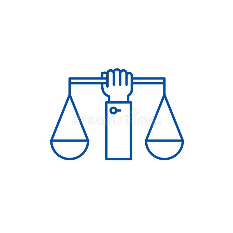Linje för jämvikt för affärslag symbolsbegrepp Symbol för vektor för jämvikt för affärslag plant, tecken, översiktsillustration vektor illustrationer