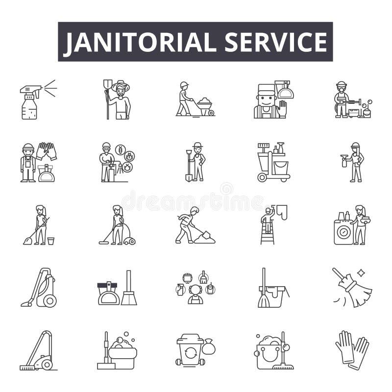Linje för Janitorial service symboler för rengöringsduk och mobil design Redigerbart slaglängdtecken Översiktsbegrepp för Janitor stock illustrationer