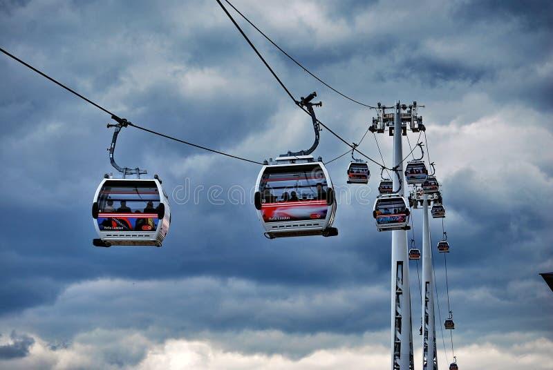 Linje för luft för Emirates för Thames kabelbil arkivbilder