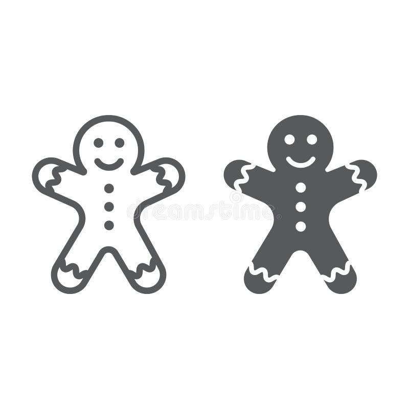 Linje för pepparkakaman och skårasymbol, jul royaltyfri illustrationer