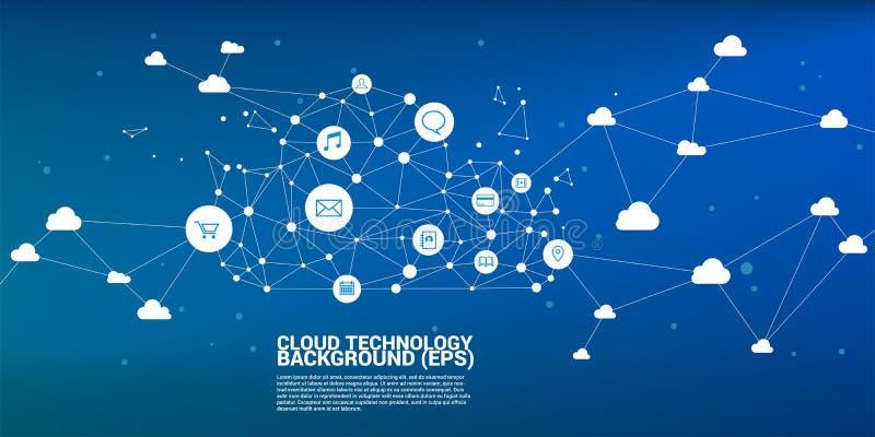 Linje för polygon för begrepp för molnberäkningsnätverk förbindelseprick Begrepp av molnserverlagring och data royaltyfri foto