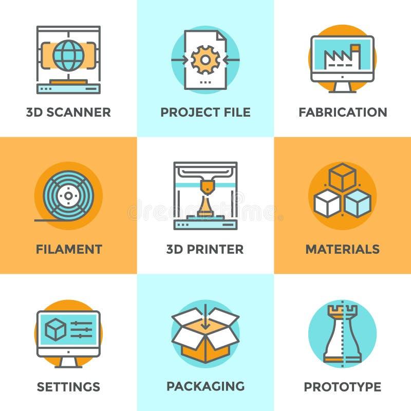 linje för printing 3D symbolsuppsättning royaltyfri illustrationer