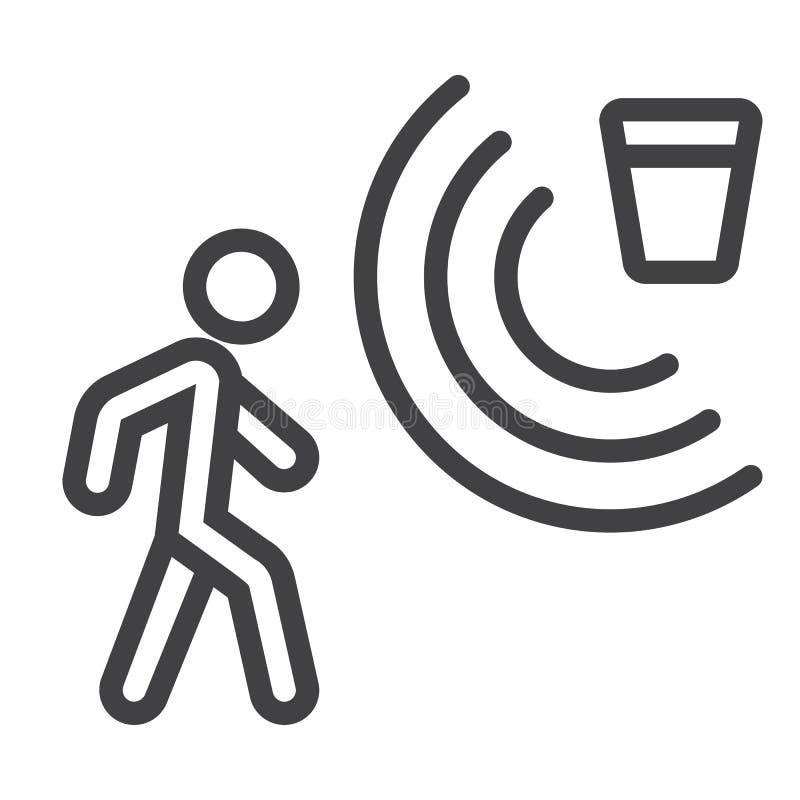 Linje för rörelseavkännare symbol, säkerhet och vakt vektor illustrationer