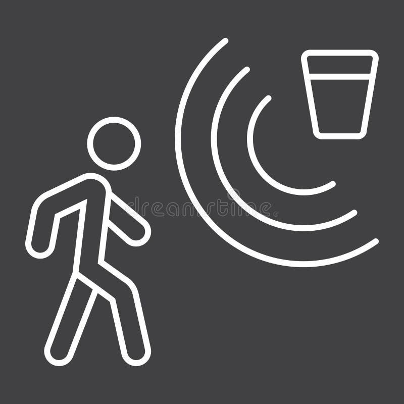 Linje för rörelseavkännare symbol, säkerhet och vakt royaltyfri illustrationer