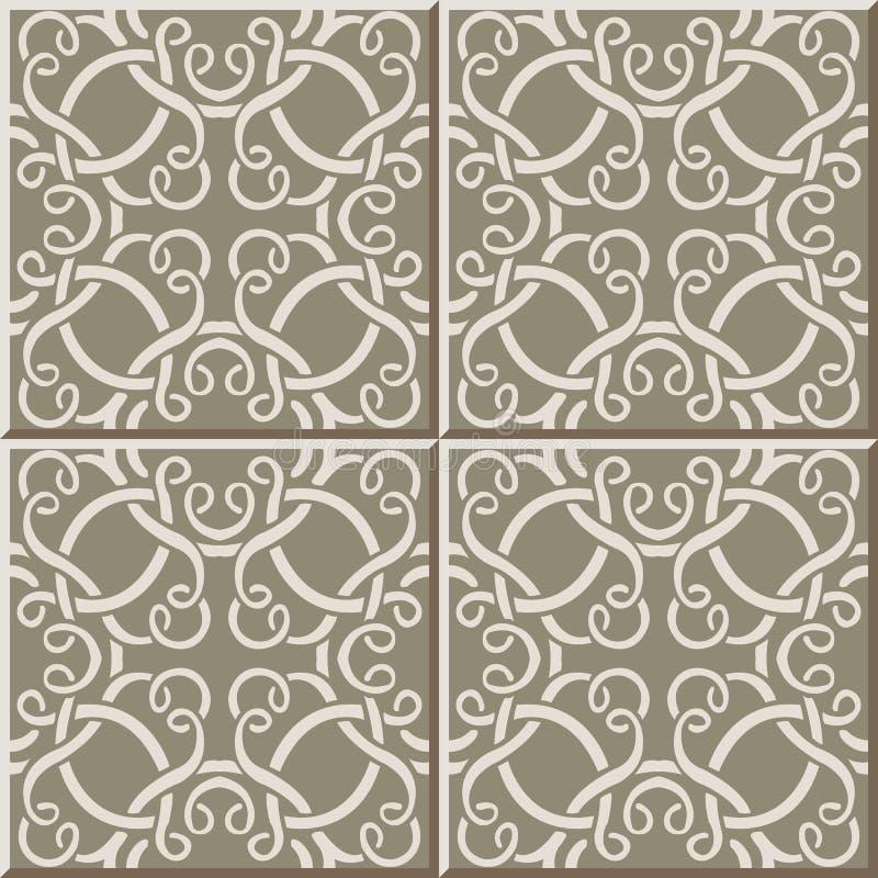 Linje för ram för kors för spiral för kurva för modell 318n för keramisk tegelplatta vektor illustrationer