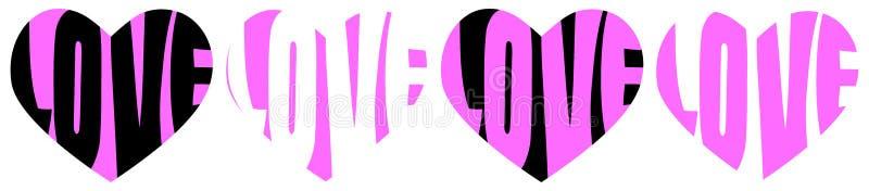 Linje för rosa färger för förälskelseordhjärtor royaltyfri illustrationer
