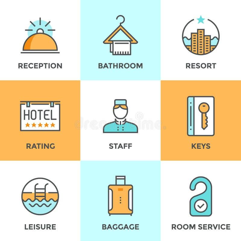 Linje för service för hotellboende symbolsuppsättning stock illustrationer