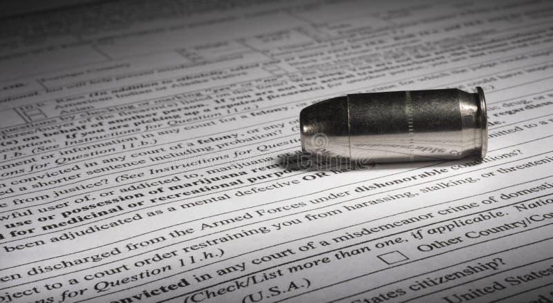 Linje för skamlig urladdning på NICS-formen som köper ett vapen arkivbilder