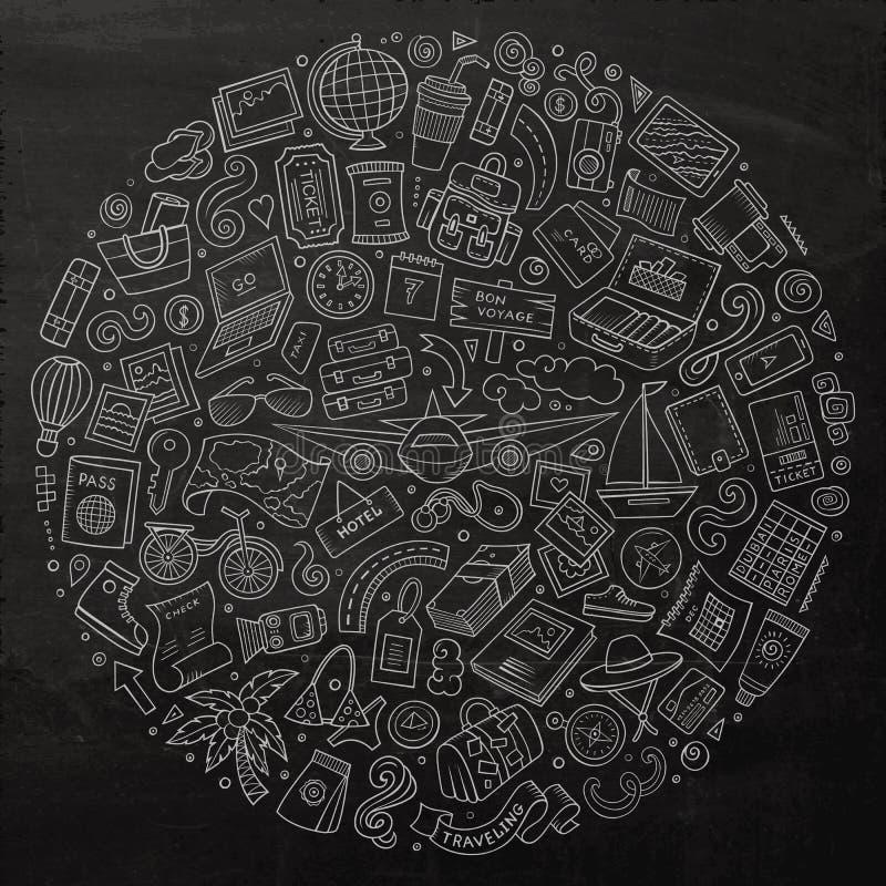 Linje för svart tavlavektor för konst dragen uppsättning hand av lopptecknad filmdood stock illustrationer